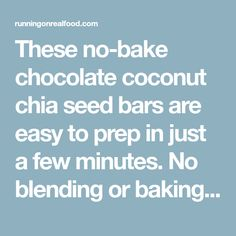 These no-bake chocolate coconut chia seed bars are easy to prep in just a few minutes. No blending or baking required. Healthy Lunches For Kids, Healthy Toddler Meals, Healthy Snacks, Toddler Food, Healthy Eats, Chia Seed Snacks, Chia Seeds Protein, Chia Recipe, Fruit Displays