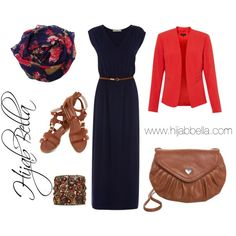Smart casual summer outfit featuring the Navy Blossom Hijab from HijabBella.com by hijabbella on Polyvore featuring polyvore, fashion, style, Oasis and even&odd