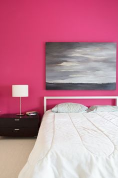 Painting Ideas:  10 Intense Wall Paint Colors to Push Your Style (Not a fan of this pink, but the bed frame is great!)