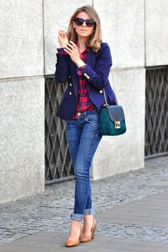 Navy blazer and flannel shirt for fall
