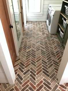 brick flooring Thinking about putting a brick floor in your home Read this post for information about where to buy brick tiles, cost, sealer, and more! Brick Tile Floor, Brick Pavers, Brick Flooring, Types Of Flooring, Penny Flooring, Garage Flooring, Grey Flooring, Flooring Ideas, Wooden Flooring
