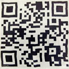 QR Code scarf silk scarf with hand painted QR Code by crrysstall
