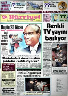 Hürriyet gazetesi 23 nisan 1982 Newspaper Headlines, Old Newspaper, Newspaper Archives, Historical Pictures, Old Photos, Karma, Nostalgia, Advertising, History
