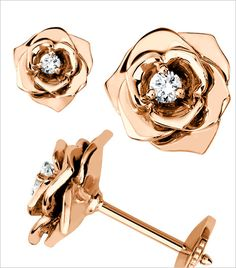 @Who What Wear - Rose Earrings ($2,600) in 18K Rose Gold set with 2 Brilliant-Cut Diamonds.