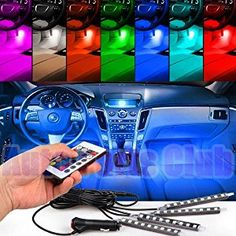 Car Charger Included DC 12V Glory Car LED Strip Lights 4pcs 36 LEDs Multicolor Music Car Interior Lights Under Dash Lighting Waterproof Kit with Sound Active Function and Wireless Remote Control