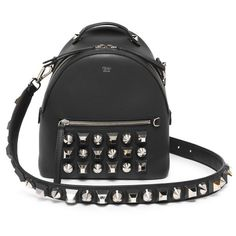Fendi Studded Leather Crossbody Backpack (7060 TND) ❤ liked on Polyvore featuring bags, backpacks, black, fendi, studded leather backpack, fendi bags, fendi crossbody and pocket backpack