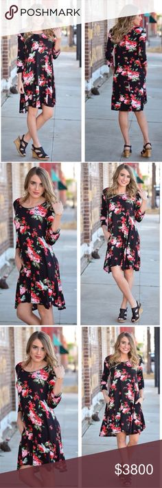 """Black Floral Tunic Dress Brand new without tag. Beautiful! Pockets. Soft and stretchy. 96% rayon and 4% spandex. Measurement laying flat: bust: 20"""" length: 36.5"""" Infinity Raine Dresses Midi"""