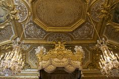 The Bed Chamber of Marie Antoinette. Palace of Versailles