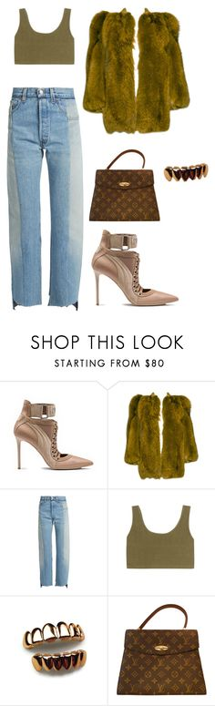 """""""Untitled #2427"""" by mollface ❤ liked on Polyvore featuring YSL RIVE GAUCHE, Vetements, adidas Originals and Louis Vuitton"""