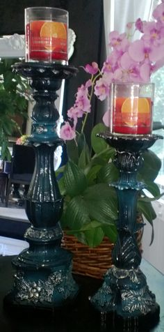 Custom painted vintage candlesticks, black faded into turquoise with silver gilded accents, Still available-$100 for the pair SOLD