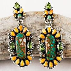"A Leo Feeney ""Sacred High Mesa"" Turquoise Cluster Earrings Sterling Silver 