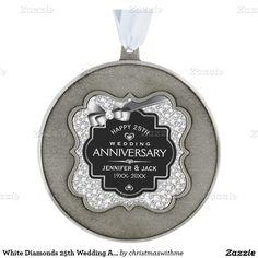 White Diamonds 25th Wedding Anniversary Scalloped Pewter Christmas Ornament