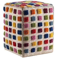 Mat-The-Basics Gemma Square Pouf ($373) ❤ liked on Polyvore featuring home, furniture, ottomans, multi, colorful ottomans, woven ottoman, hand made furniture, cube ottoman and patterned ottoman