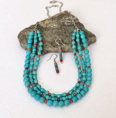Just listed in my #etsy shop: Multi Strand Turquoise Necklace Set Boho Bib http://etsy.me/2tBkE1q #turquoise #jewelry #beaded #necklace #statement #multistrand #triplestrand #bib #layered #boho #turquoisenecklace #fashion #style #bohochic #bohostyle #jewelryset #gift