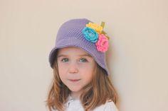 Ready to ship/ Flower sun hat/ Purple Sun Hat/ Purple hat/