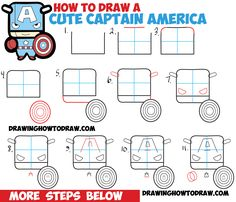 How to Draw Cute Captain American in Chibi Kawaii Style from Marvel Comics…
