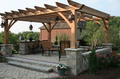 Witching Modern Wooden Pergola Design with Brown Color Wooden Pergola and Stone Pergola Base