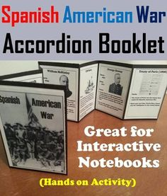 This booklet is a fun hands on activity for students to use in their interactive notebooks. Students may research or show what they have learned by writing different facts on the provided blank lines about each Historical Figure and Term associated with the Spanish American War.