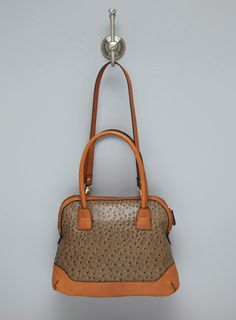 london fog ostrich handbag - Google Search I like when ostrich is mixed with leather