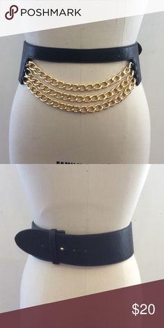 Karen Zambos Louisa Belt Black chain belt. Gold. Button closure. Size S/M. NWT sample Karen Zambos Accessories Belts
