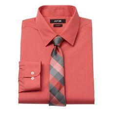 Men's Apt. 9® Slim-Fit Dress Shirt & Tie Set, Size: 2X-34/35, Drk Orange