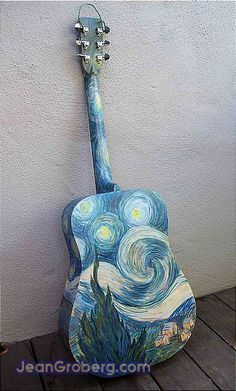 The back side of the guitar painted with a modification of the Van Gogh Starry Night painting. Arte Van Gogh, Van Gogh Art, Ukulele Art, Guitar Art, Vincent Van Gogh, Painting Inspiration, Art Inspo, Art Hoe Aesthetic, Guitar Painting