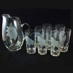 Vintage BLOWN GLASS Etched PITCHER with Applied Handle & 8 glasses by BroJoRetro