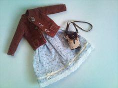 Beige and brown jacquard bag for Blythe
