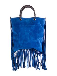 Gucci Suede Bamboo Fringe Shopper Tote w/ Tags