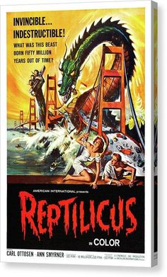 Vintage Reptilicus Movie Poster, 1961 - Canvas Print - 6.625 x 10.000 / Mirrored / Glossy