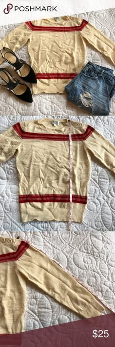 A.P.C sweater.  Size small Cream with red stripes sweater. I believe it's wool. . There are 2 spots with small holes (see pics) over all really good sweater, still has a lot of life. Is can be worn as a regular size (or a crop) sweater, depending on your style . Smoke free home. Opens to offers. APC Sweaters Crew & Scoop Necks
