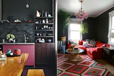 Inky walls and moody hues are on trend as interior design goes back to black.