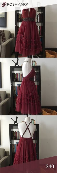 """Free People Beaded Dress Free People maroon beaded dress. Feature back zip and adjustable straps. Length: 33"""" waist: 13"""" Free People Dresses"""
