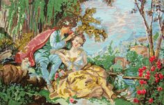 needlepoint tapestry lovers couple of past centuries, cross stitch french canevas, lovers valentin undergrowth