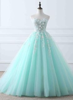 quinceanera dresses Light blue tulle applique sweetheart lace up ball gown dresses from Girlsprom - Tulle Ball Gown, Ball Gowns Prom, Tulle Prom Dress, Ball Gown Dresses, Evening Dresses, Tulle Lace, Dress Lace, Pageant Dresses, Blue Ball Gowns