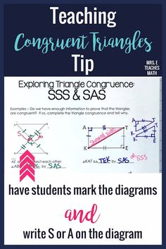 7 Ideas for Teaching Congruent Triangles Geometry Vocabulary, Teaching Geometry, Geometry Proofs, Geometry Lessons, Math Lesson Plans, Math Lessons, Teaching Tips, Teaching Math, Math Activities