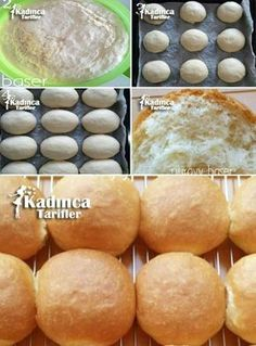 Hamburger Bread Recipe, How To? - Womanly Recipes - Delicious, Practical and Delicious Food Recipes Site - Bread Recipes Nougat Recipe, Bread Recipes, Cooking Recipes, Homemade Dinner Rolls, Greek Cooking, Recipe Sites, Bread And Pastries, Iftar, Turkish Recipes