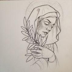 Image search result for the virgin mary praying design - Mutter Maria tattoo - Dibujos Tattoo, Desenho Tattoo, Tattoo Sketches, Tattoo Drawings, Maria Tattoo, Saint Tattoo, Hirsch Tattoo, Neo Traditional Tattoo, Future Tattoos