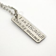 I am STRONGER Than My Excuses Charm Only by AfflatusDesignStudio, $15.00