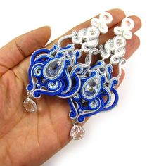 Items similar to Blue chandelier wedding soutache earrings, something blue for bride. Long statement handmade handcrafted unique special bridal jewelry on Etsy Soutache Earrings, Bridal Earrings, Bridal Jewelry, Blue Chandelier, Something Blue, Beaded Embroidery, Belly Button Rings, Cuff Bracelets, Swarovski Crystals