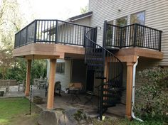 Deck Furniture Layout Ideas is agreed important for your home. Whether you pick the Balcony Railing Manufacturers or Balcony Railing Repair, you will create the best Balcony Hotels Nyc for your own life. Deck Stairs, Balcony Railing, Wood Railing, Deck Railings, Iron Balcony, Railing Ideas, Deck Furniture Layout, High Deck, Outdoor Deck Decorating