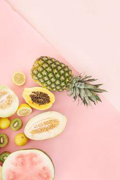 Still life photography   fruit flatlay photo   Tropical fruit   pink   blog photo ideas