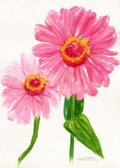 Zinnias watercolors  painting, Original pink zinnia watercolor flowers, small zinnia artwork, original painting of pink zinnias floral  by SharonFosterArt on Etsy