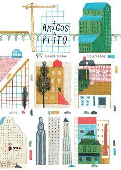 Front cover for 'Amigos Do Peito / Close Friends' by Cláudio Thebas and Violeta Lópiz – published by Bruaá Editora