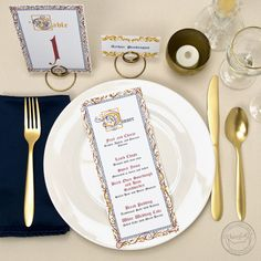 Having a medieval or renaissance themed event? You totally need these illuminated manuscript-inspired menus, table numbers, and place cards! | Wedding Invitations by CharmCat Stationery & Design