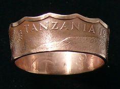 Bronze Coin Ring 1966 Tanzania 5 Senti  Ring by GlobalCoinJewelry, $29.99