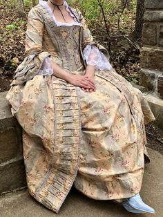 Robe a la Francaise with stomacher 1760's 18th Century sack back dress historical costume