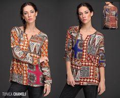 La Túnica Chameli tiene una hermosa caída. Su diseño estilo patchwork en colores saturados resaltan tu #look. Women, Fashion, Scrappy Quilts, Female Clothing, Fall Winter, Sweetie Belle, Blouses, Trends, Colors