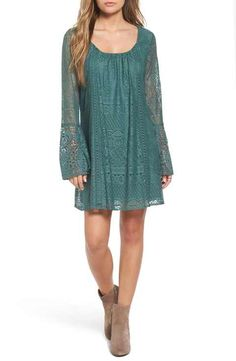 Sequin Hearts Lace Bell Sleeve Shift Dress