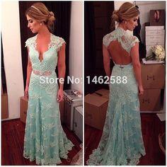 Elegant V-neck Cap Sleeves Open Back Sexy Long Lace Evening Dress Turquoise Party Prom Dresses 2015 Vestido Longos Formatura